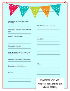 food day sign up sheets by libby magee teachers pay teachers