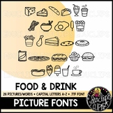 Food & Drink Picture Font {Educlips Clipart}