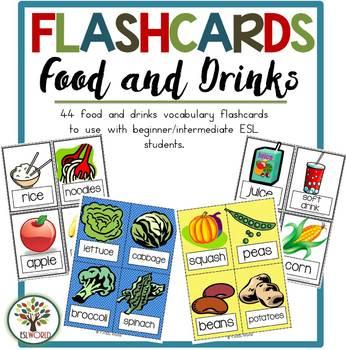 Food & Drinks {36 Flashcards & Games} ESL Adults & Grades 1-6
