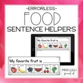 Food Errorless Writing Sentence Helpers
