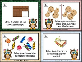 Food Fraction Task Cards for Owl Lovers.