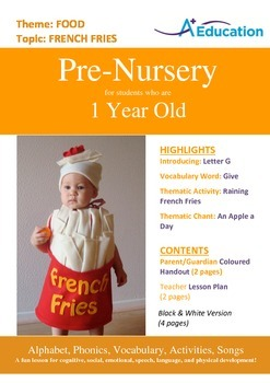 Food - French Fries : Letter G : Give - Pre-Nursery (1 year old)