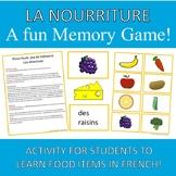 Food French Memory Game Nourriture
