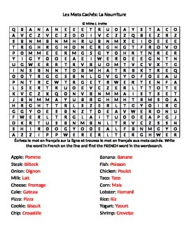 Food French Vocabulary Wordsearch