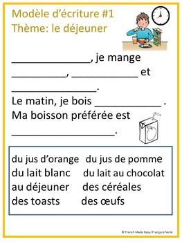 Food French Writing Models- Nourriture-Modèles d'écriture