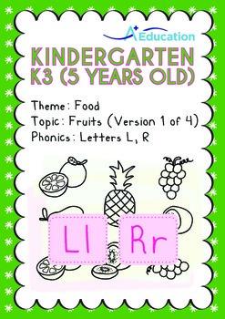 Food - Fruits (I): Letters Ll Rr - Kindergarten, K3 (age 5)