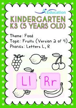 Food - Fruits (II): Letters Ll Rr - Kindergarten, K3 (age 5)