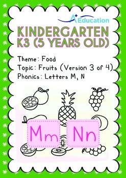 Food - Fruits (III): Letters Mm Nn - Kindergarten, K3 (age 5)