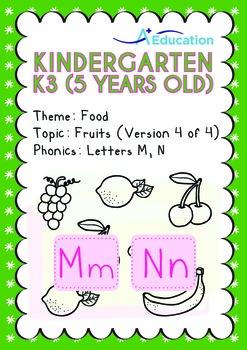 Food - Fruits (IV): Letters Mm Nn - Kindergarten, K3 (age 5)
