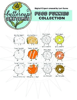 Food Pun Clip Art Collection: 20 clever puns in color and b/w