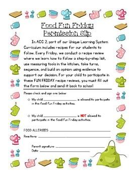 Food Fun Friday Permission Slip