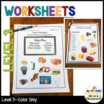 Food Functional Sight Word Worksheets for Reading Comprehension in Special Ed