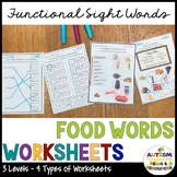 Food Functional Sight Word Worksheets for Reading Comprehe