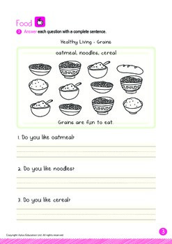 Food - Grains (II): Letters Ss Zz - Kindergarten, K3 (age 5)