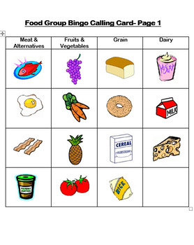 Food Group Bingo Cards in full color