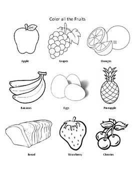 Food Group Coloring Woorksheets