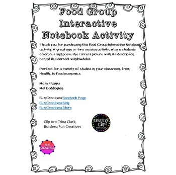 Food Group Interactive Notebook