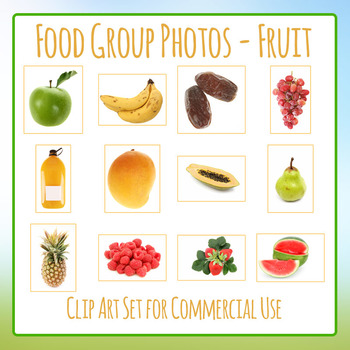 Food Group Photos - Fruits - Photograph Clip Art Set for Commercial Use