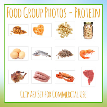 Food Group Photos - Proteins - Photograph Clip Art Set for Commercial Use