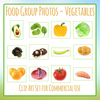 Food Group Photos - Vegetables - Photograph Clip Art Set for Commercial Use