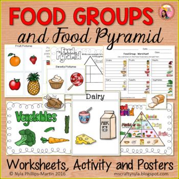Food Group Printables: Sorting Activity, Worksheets, and Posters.