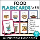 Food Group Vocabulary Flashcards   ESL Task Cards - Meat, Dairy, Protein