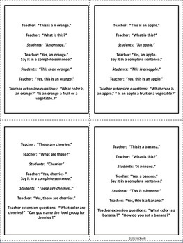 ESL Food Groups Direct Instruction Vocabulary Cards Early Primary/ELL Newcomers