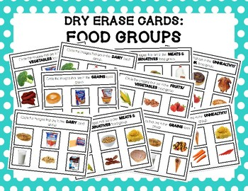 Food Groups Dry Erase Boards