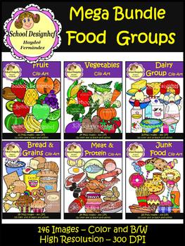 Food Groups Mega Bundle - Clip Art (School Designhcf)