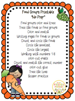 Food Groups No Prep Printable