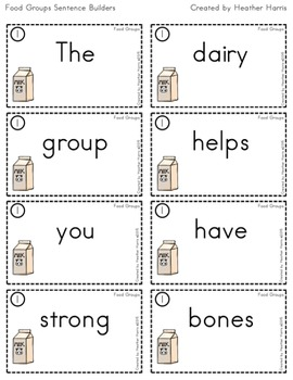 Food Groups Sentence Builders