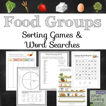 Food Groups Sorting Games And Word Search Puzzles