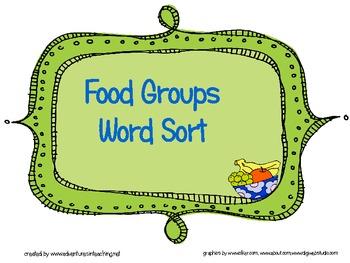 Food Groups Word Sort