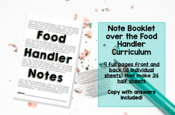 Food handler notes booklet 34 half pages (18 full sheets) of notes.