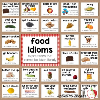 Food Idioms Bulletin Board Kit by Apples to Zippers | TpT