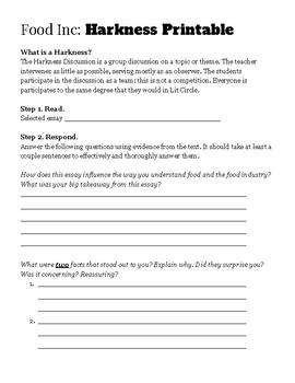 Food Inc Literature Circle / Harkness ASSIGNMENT