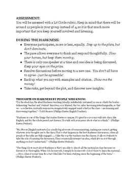 Food Inc Literature Circle / Harkness HANDOUT