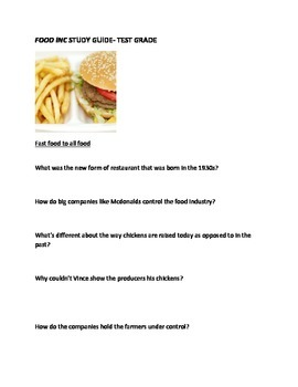 Food Inc Movie Study Guide