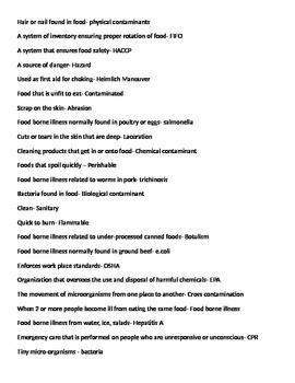 Food Industry/ Kitchen Safety Bingo