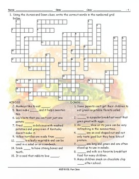 Food Items Crossword Puzzle