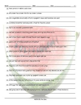 Food Items Scrambled Sentences Worksheet