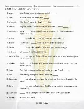Food Items Study Worksheet
