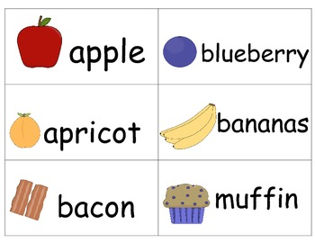 Grocery Food Items Word Wall Cards