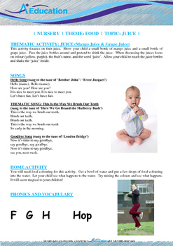 Food - Juice (Mango & Grape) : Letter H : Hop - Nursery (2 years old)