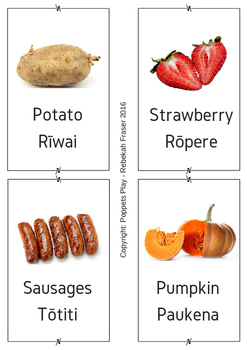 Bilingual food flash cards in Te reo Pakeha  (English) and Maori.