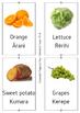 Bilingual food flash cards in Te reo Pakeha  (English) and Maori.