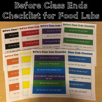 Food Lab Before Class Ends Checklist