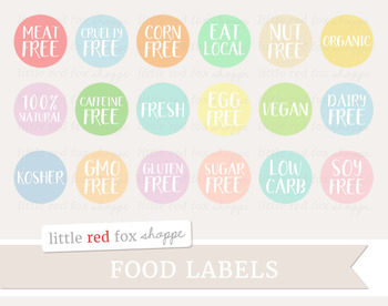 Food Label Clipart; Health, Nutrition, Allergy