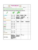 Food Label Lab Worksheet