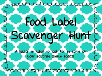 Food Label Scavenger Hunt  {*FREEBIE*}